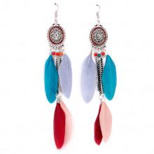 SE101-1 Цветные серьги с перьями 14см