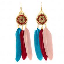 SE102-2 Цветные серьги с перьями 10см