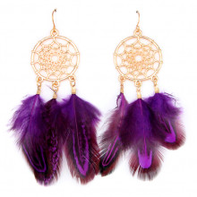 SE103-3 Серьги с перьями Ловец снов 9см фиолетовые