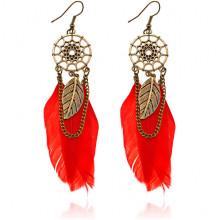 SE104-4 Серьги Ловец снов с перьями, цвет красный