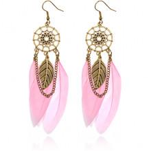 SE104-5 Серьги Ловец снов с перьями, цвет розовый