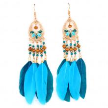 SE105-1 Синие серьги с перьями 11см
