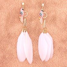 SE119-2 Серьги с перьями Попугай 11см розовые