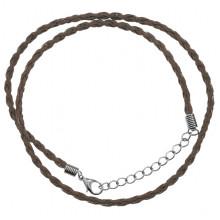 SH003BR Плетёный шнурок из искусственной кожи, 40,5см, цвет коричневый