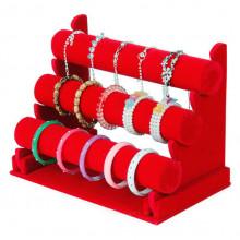 STN004-1 Дисплей для браслетов трёхярусный 32х24см, d.5см, красный бархат