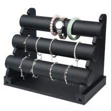 STN004-3 Дисплей для браслетов трёхярусный 32х24см, d.5см, чёрный кожзам.