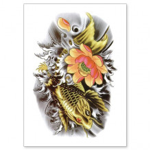 TTWX-036 Временная татуировка Карп и Цветок, 150х210мм