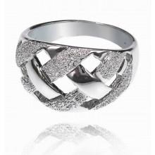 UC010-16 Кольцо Плетёнка, цвет серебряный, размер 16