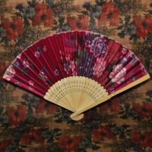 VR003-04 Веер Цветы, дерево+ткань, 48см, цвет розовый