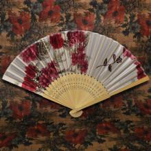 VR003-07 Веер Цветы, дерево+ткань, 48см, цвет белый + красный