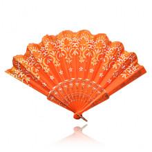 VR009-03 Веер, ткань + пластик, 24х40см, цвет оранжевый