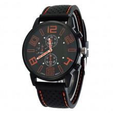 WA036-BL Часы наручные чёрно-оранжевые