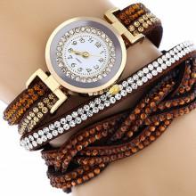 WA058-BR Часы - браслет со стразами, цвет коричневый