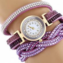 WA058-PU Часы - браслет со стразами, цвет сиреневый