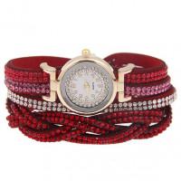 WA058-R Часы - браслет со стразами, цвет красный