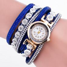 WA063 Часы - браслет со стразами, цвет синий