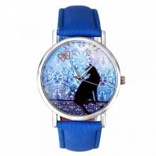 WA066 Часы наручные Кошка с синим ремешком