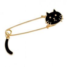 ZN013-2 Значок - булавка Кошка, металл, эмаль, цвет чёрный 65х18мм