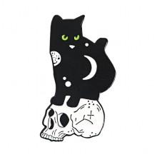ZN062 Значок Кот на черепе, 15х30мм