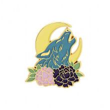 ZN084 Значок Волк, месяц и цветы, 25х30см