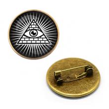 ZNA009 Значок Всевидящее Око, d.27мм, цвет бронз.