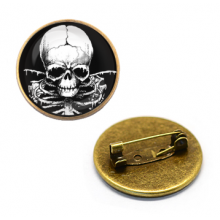 ZNA010 Значок Скелет, d.27мм, цвет бронз.