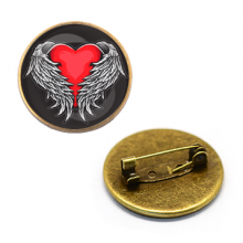 ZNA106 Значок Сердце ангела, d.27мм, цвет бронз.
