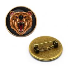 ZNA116 Значок Медведь, d.27мм, цвет бронз.