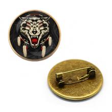 ZNA137 Значок 4-глазый волк, d.27мм, цвет бронз.