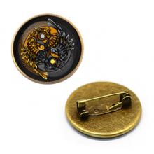 ZNA138 Значок Совы Инь-Ян, d.27мм, цвет бронз.