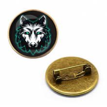 ZNA139 Значок Волк, d.27мм, цвет бронз.